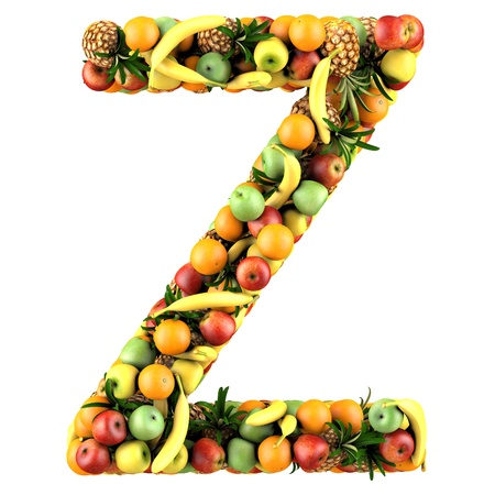 Letter - Z made of fruits  Isolated on a white  photo