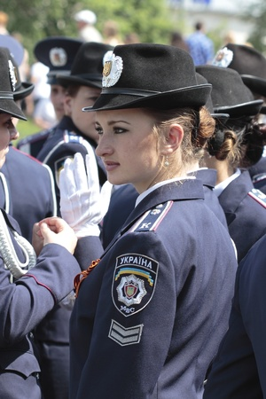 KHARKIV, UKRAINE - MAY 09: Cadets on Military Parade of Victory Day on Freedom Square on May 09, 2012 in Kharkiv, Ukraine.