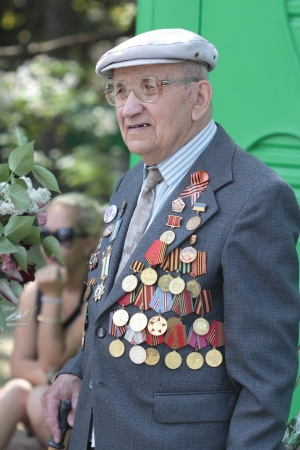 Ukrainian veterans of the Great Patriotic War Victory Day is celebrated in May, 09 2012 in Kharkiv, Ukraine. Stock Photo - 13685952