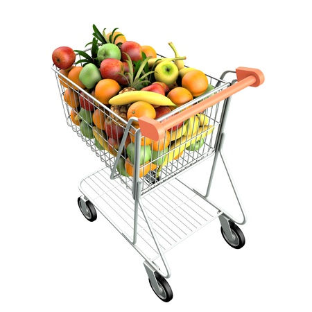 Fruits in a shopping cart  High res 3d render  Isolated on white background photo
