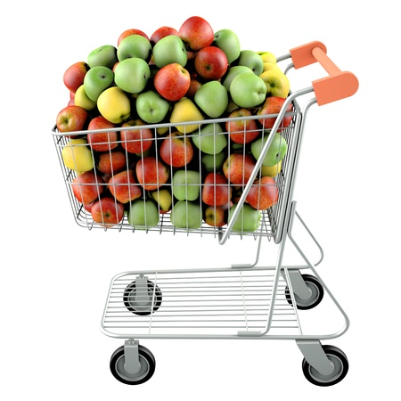 res: Apples in a shopping cart  High res 3d render  Isolated on white background
