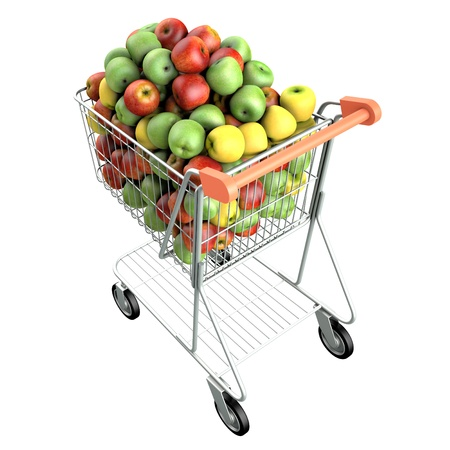 Apples in a shopping cart  High res 3d render  Isolated on white background photo