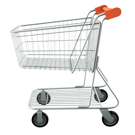 Trolley from the supermarket. High res 3d render. Isolated on white background photo