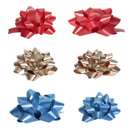 gold bow: Set of  beautiful colourful bows  High res  Isolated on white