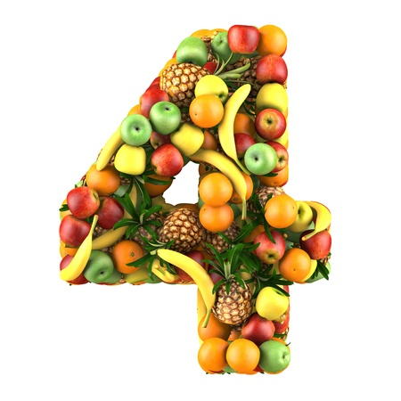 Number four made from 3d fruits. Isolated on a white. photo