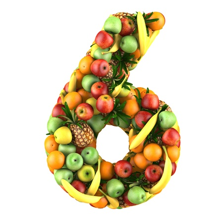 Number six made from 3d fruits. Isolated on a white. Stock Photo
