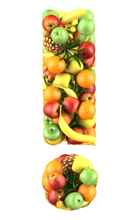 Exclamation mark made from 3d fruits  Isolated on a white