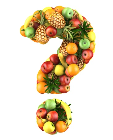 Question mark made from 3d fruits  Isolated on a white  photo