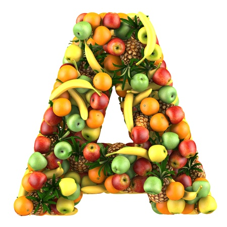 Letter - A made of fruits  Isolated on a white  免版税图像