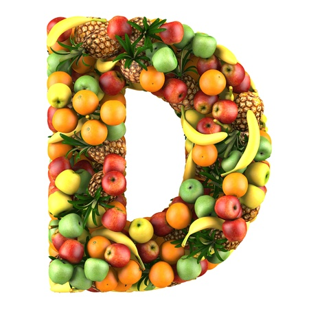 health collage: Letter - D made of fruits  Isolated on a white