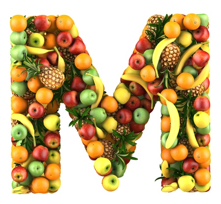 Letter - M made of fruits  Isolated on a white  photo