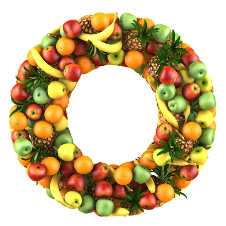 Letter - O made of fruits  Isolated on a white  photo