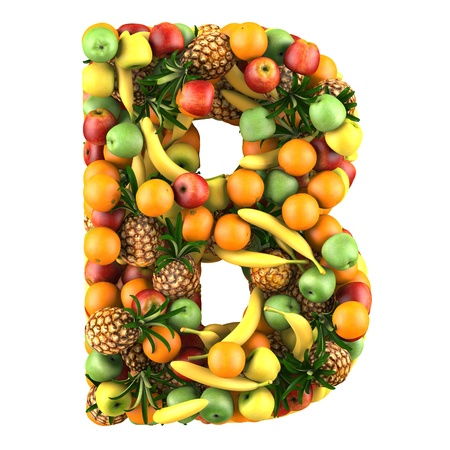 Letter - B made of fruits  Isolated on a white