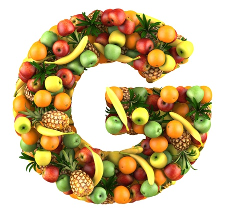 Letter - G made of fruits  Isolated on a white