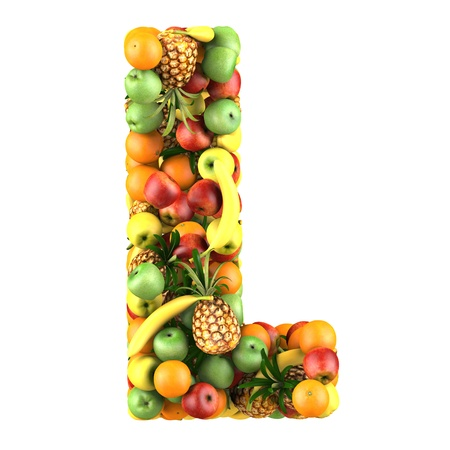 Letter - L made of fruits  Isolated on a white  photo