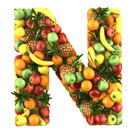 collage alphabet: Letter - N made of fruits  Isolated on a white