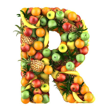 Letter - R made of fruits  Isolated on a white