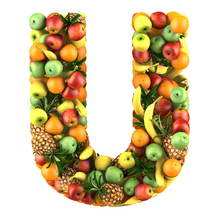 health collage: Letter - U made of fruits  Isolated on a white  Stock Photo