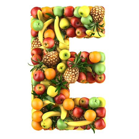 collage alphabet: Letter - E made of fruits  Isolated on a white  Stock Photo