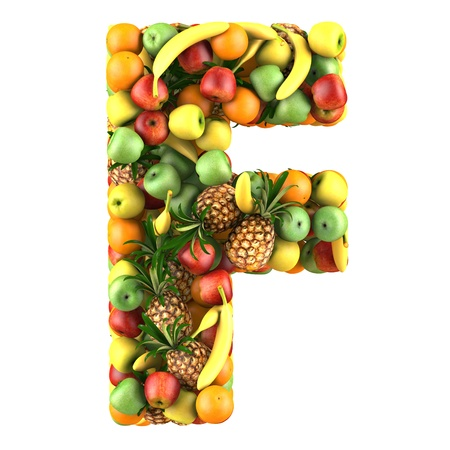 collage alphabet: Letter - F made of fruits  Isolated on a white