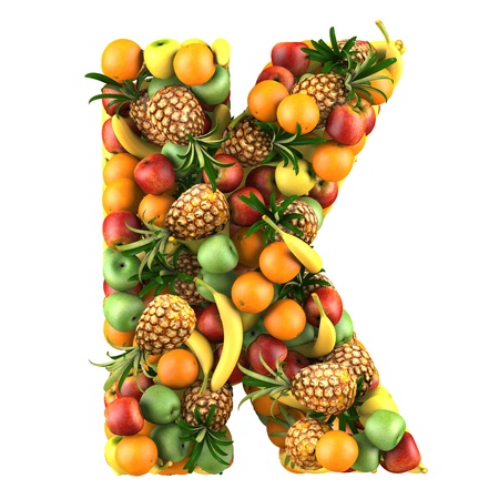 Letter - T made of fruits  Isolated on a white  photo