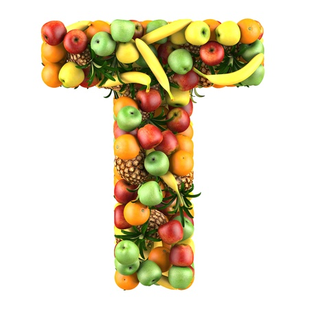 collage alphabet: Letter - T made of fruits  Isolated on a white