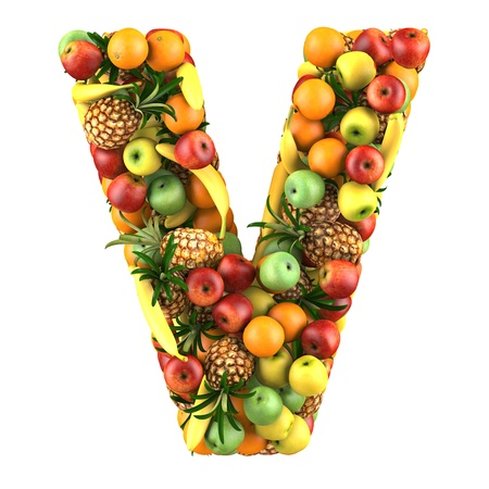 Letter - V made of fruits  Isolated on a white  photo
