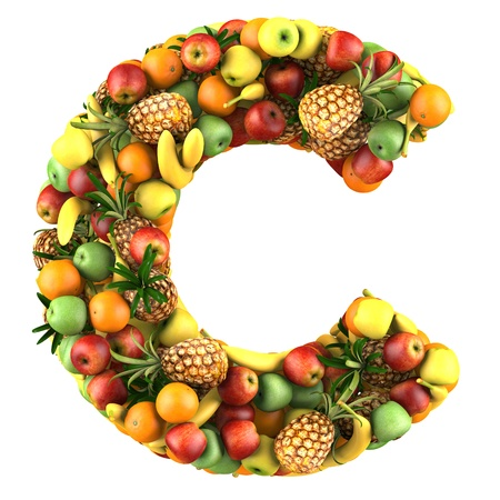 collage alphabet: Letter - C made of fruits  Isolated on a white