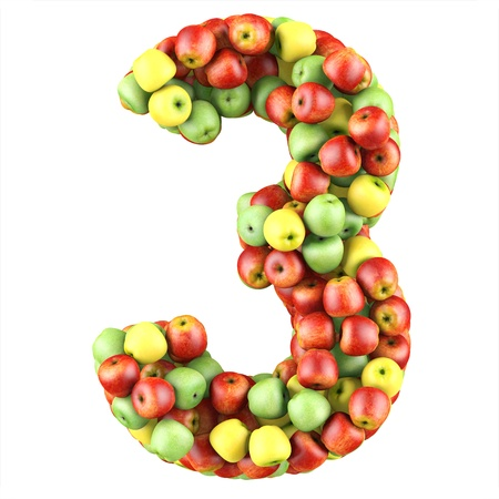 Number three made from apples  Isolated on a white  3d render photo