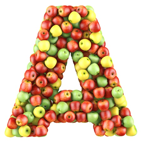 write a letter: Letter - A made of apples. Isolated on a white.