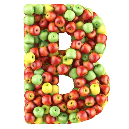 Letter - B made of apples. Isolated on a white. photo