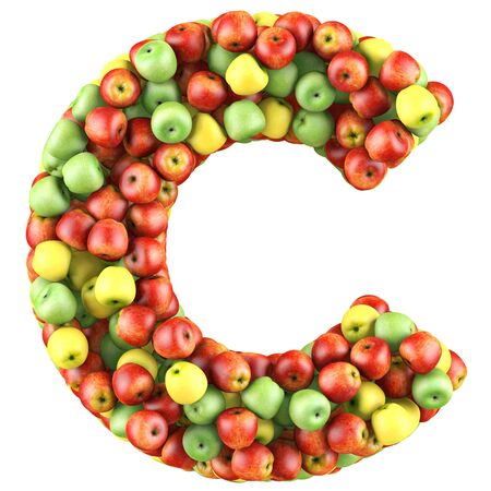 Letter - C made of apples. Isolated on a white. photo