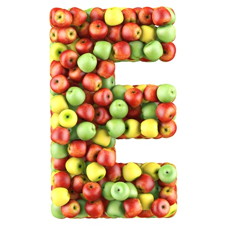 e white: Letter - E made of apples. Isolated on a white. Stock Photo