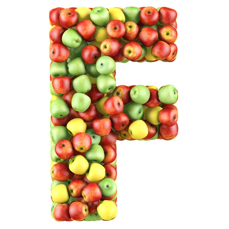 alphabet letter a: Letter - F made of apples. Isolated on a white. Stock Photo