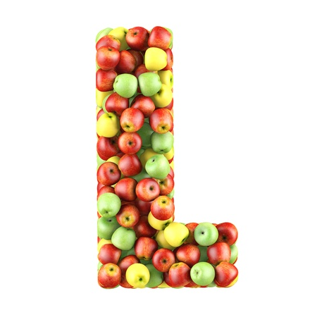 Letter - L made of apples  Isolated on a white  photo