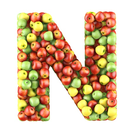 shaped: Letter - N made of apples  Isolated on a white