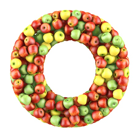 shaped: Letter - O made of apples  Isolated on a white  Stock Photo