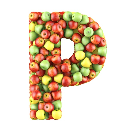 Letter - P made of apples  Isolated on a white  photo