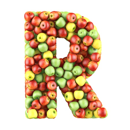Letter - R made of apples  Isolated on a white  photo