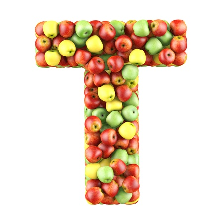 Letter - T made of apples  Isolated on a white  photo