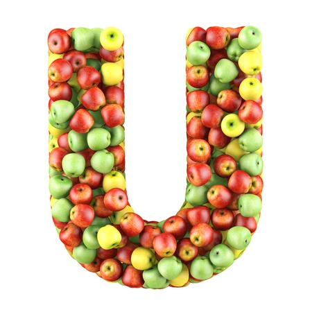 Letter - U made of apples  Isolated on a white  photo