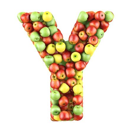 y shaped: Letter - Y made of apples  Isolated on a white  Stock Photo