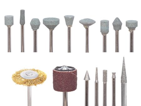 tool and die: Set of variety of die grinder stones on a white background Stock Photo