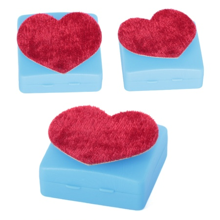 Set of Box and heart shaped. isolated on white photo