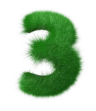 Number three made of grass  Isolated on white background 免版税图像