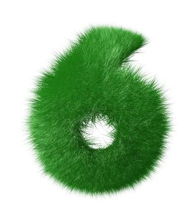 Numero sei fatto di erba, isolato su sfondo bianco photo
