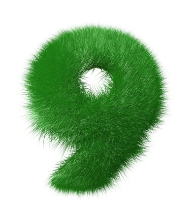 Number nine made of grass  Isolated on white background photo