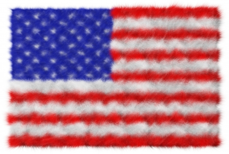 USA flag made from fur  Isolated on white photo