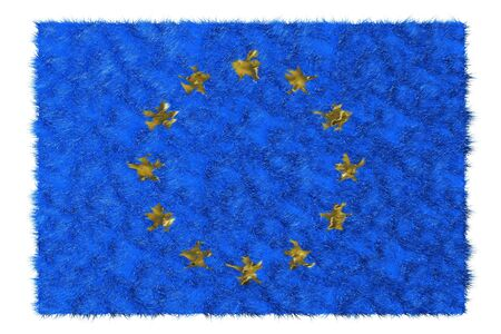 European union flag made from fur  Isolated on white photo