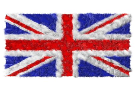 Flag of UK made from fur  Isolated on white photo